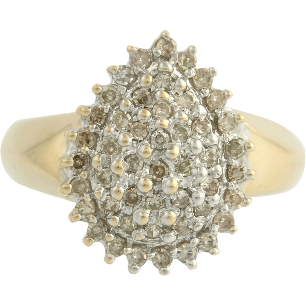 Diamond Cluster Cocktail Ring - 10k Yellow Gold Band Women's Fine Estate 6 3/4-7