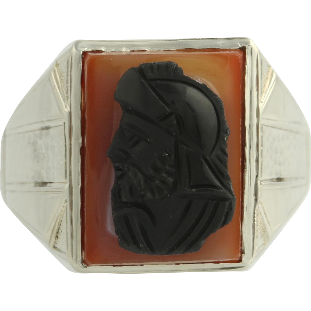 Art Deco Carved Warrior Men's Ring - 14k Yellow Gold Cameo Banded Agate