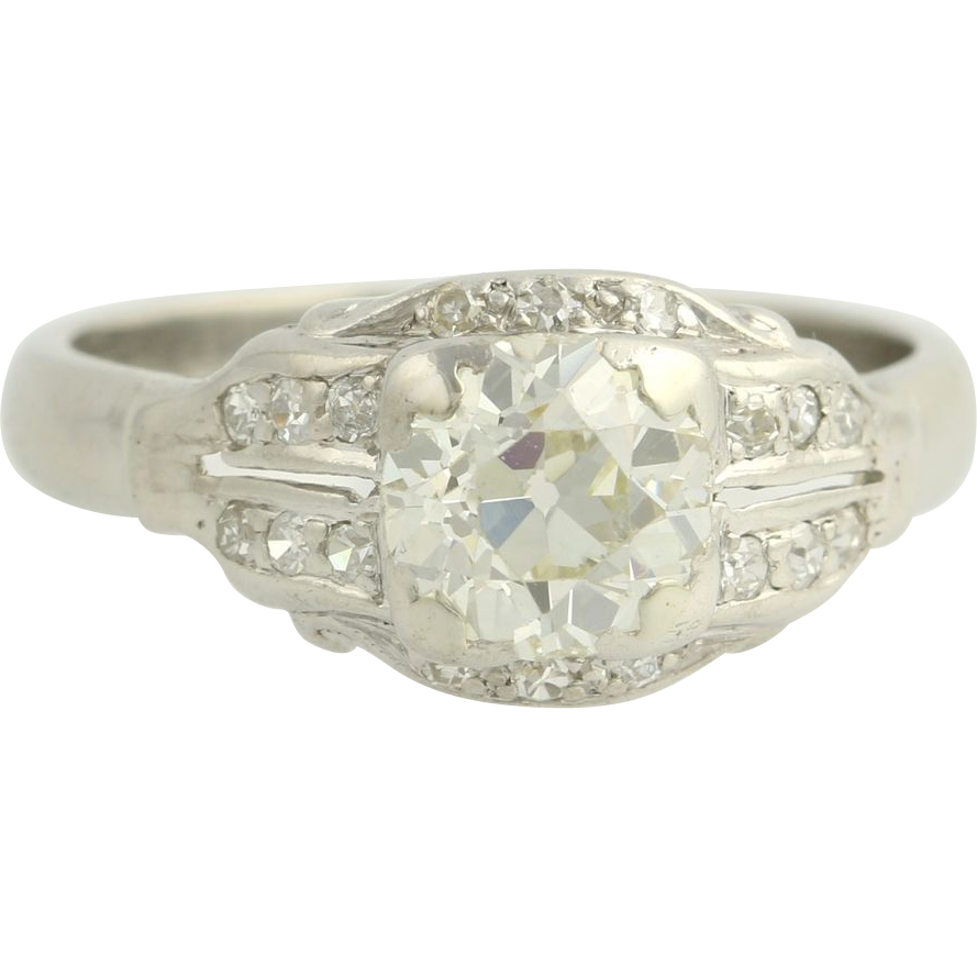 Art Deco Diamond Engagement Ring - 14k White Gold Platinum Natural Round 1.25ctw F5917