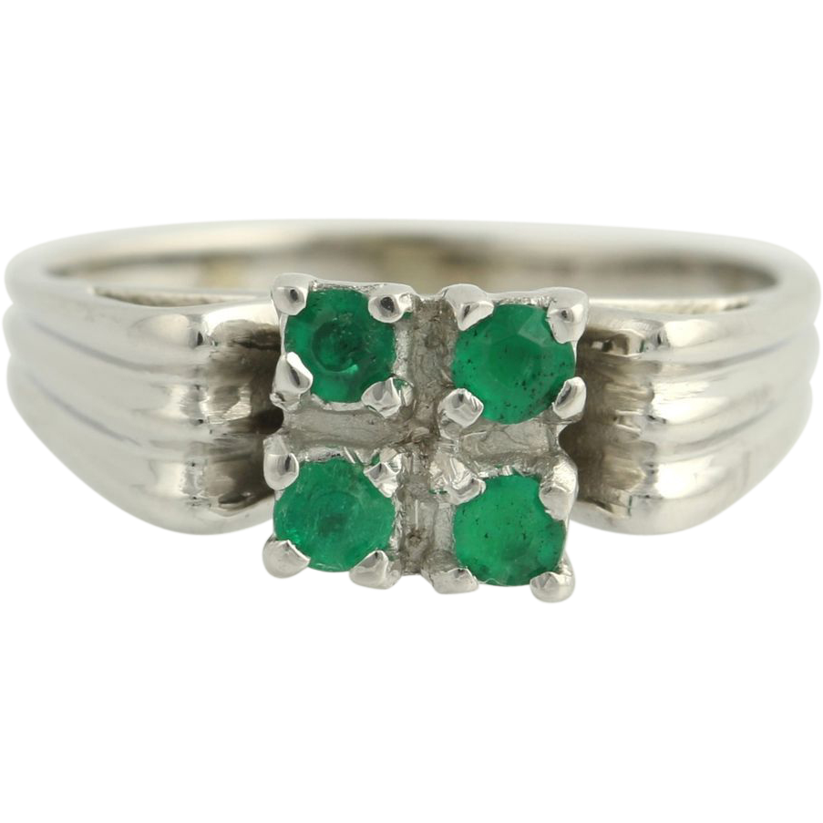 Emerald Ring - 18k White Gold High Karat Women's Gemstone Birthstone May .36ctw