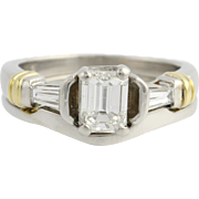 Emerald Cut Diamond Engagement Ring and Wedding Band Sed - 900 Platinum & 18k Gold