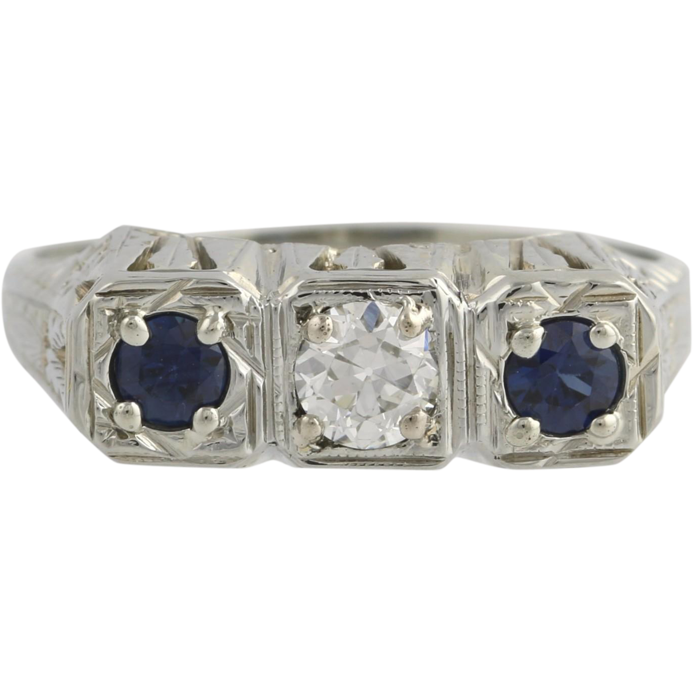 Art Deco Sapphire & Diamond Ring Three Stone Vintage - 18k White Gold .75ctw