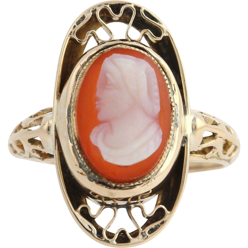 Victorian Carved Banded Agate Cameo Ring - 10k Yellow Gold Women's Fine Estate