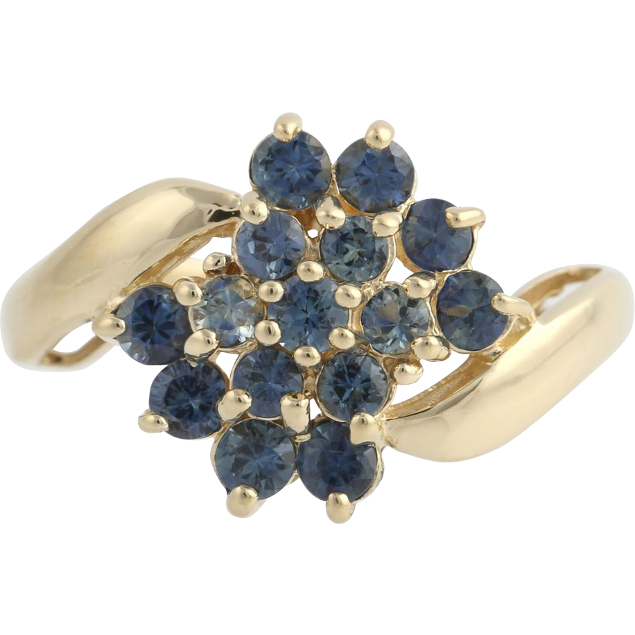 Sapphire Cluster Cocktail Ring -10k Yellow Gold Bypass September Genuine 1.80ctw