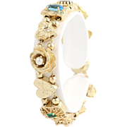 "Vintage Slide Bracelet 6.75"" - 14k Yellow Gold Women's Genuine Gemstone"