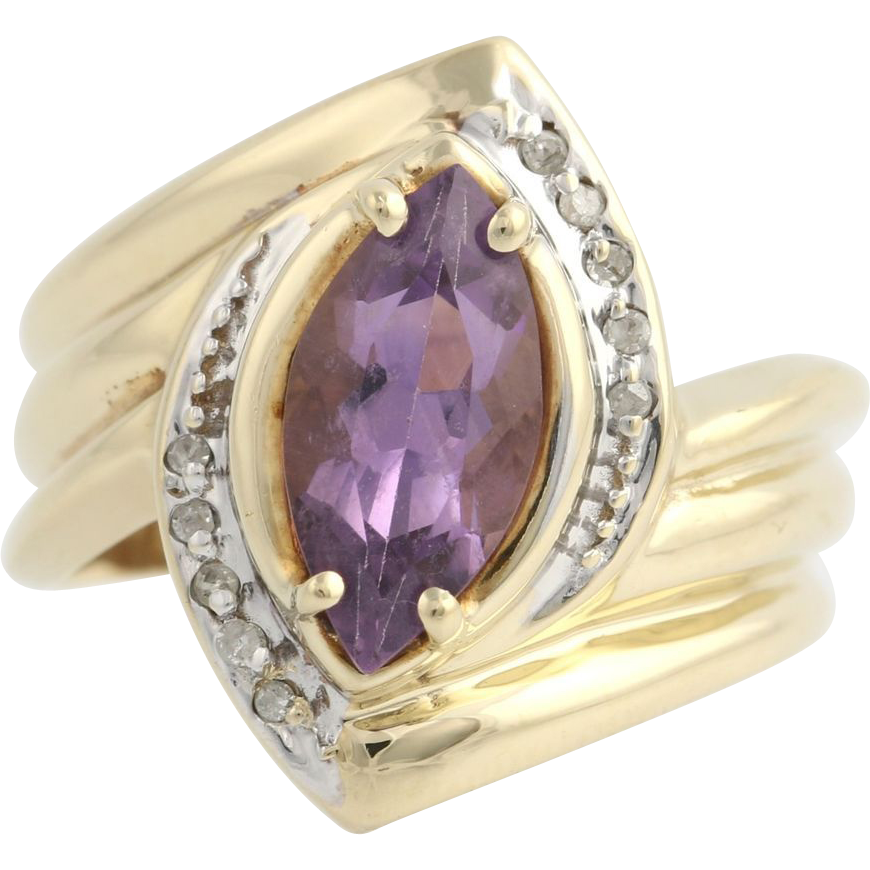 Amethyst & Diamond Cocktail Bypass Ring - 14k Yellow and White Gold Fine 1.67ctw