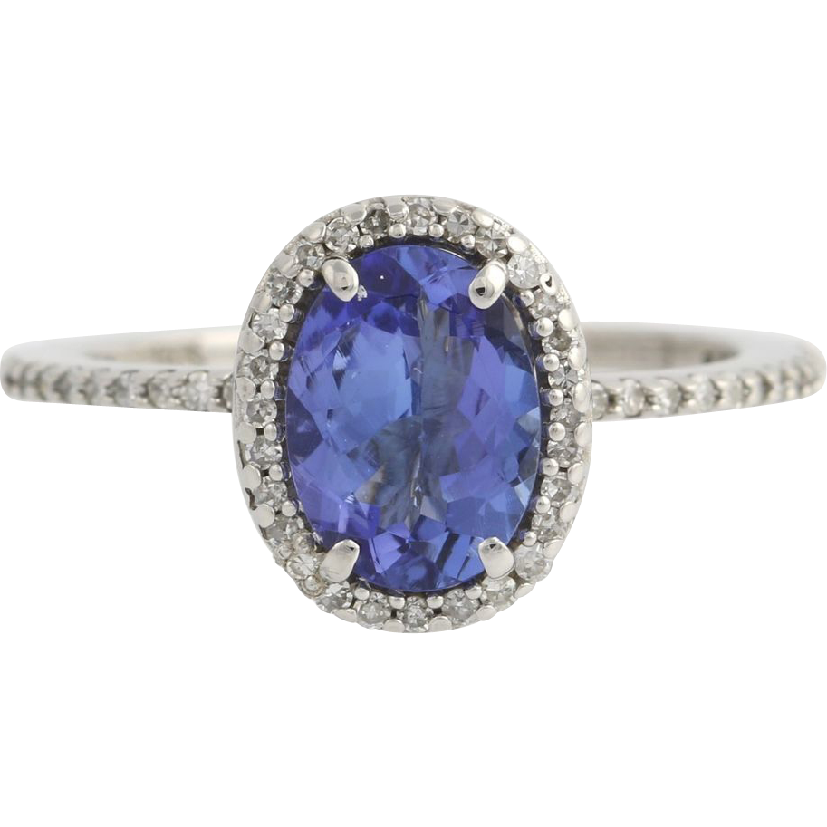 Tanzanite & Diamond Halo Ring - 14k White Gold Engagement Cocktail 2.10ctw F7385