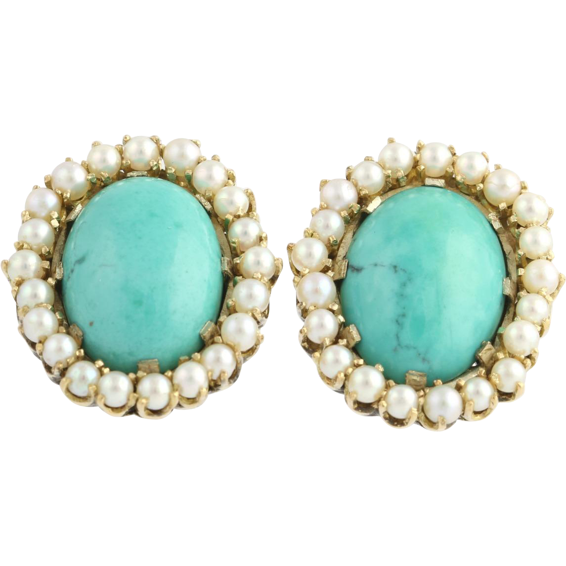 Turquoise & Cultured Pearl Earrings - 10k Yellow Gold Polished Estate Pierced