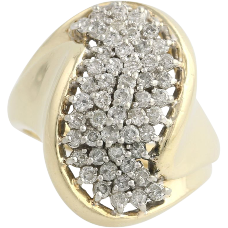 Diamond Cluster Cocktail Ring - 10k Yellow & White Gold Polished Genuine 1.00ctw