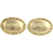 Edwardian Men's Cuff Llinks - 10k Yellow Gold Textured Oval Face Fine Estate