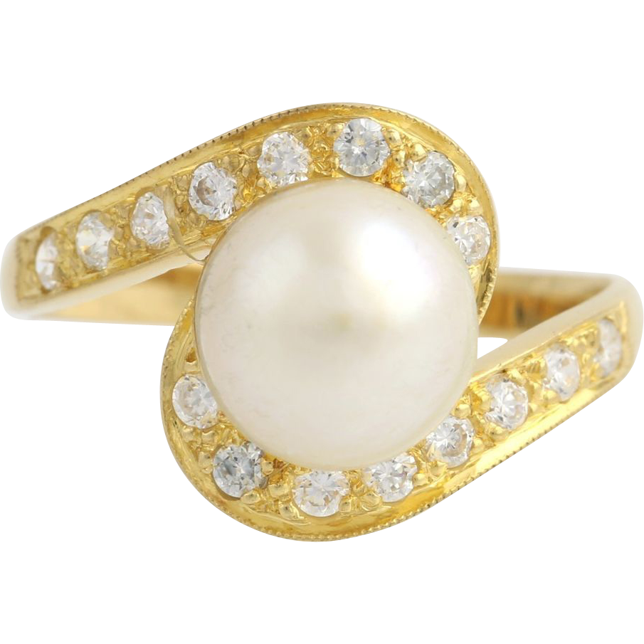 Cultured Pearl & Cubic Zirconia Bypass Ring - 18k Yellow Gold Size 7 Fashion CZ