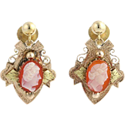 Victorian Revival Cameo Agate Earrings - 14k Yellow Gold Dangle Women's Estate