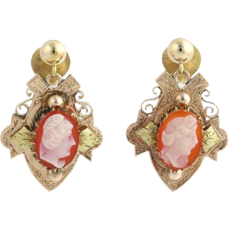 Victorian Revival Cameo Agate Earrings - 14k Yellow Gold Dangle Women's Estate