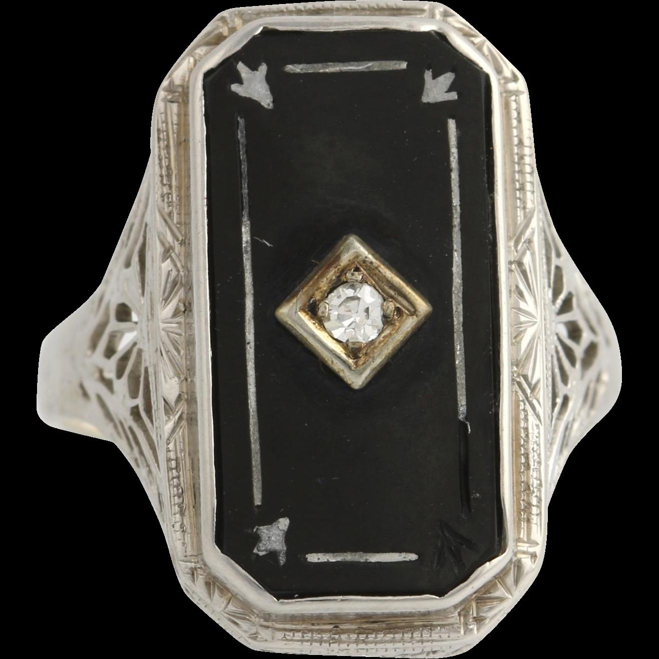Art Deco Onyx & Diamond Ring - 14k White Gold Women's Size 6 Genuine .04ctw