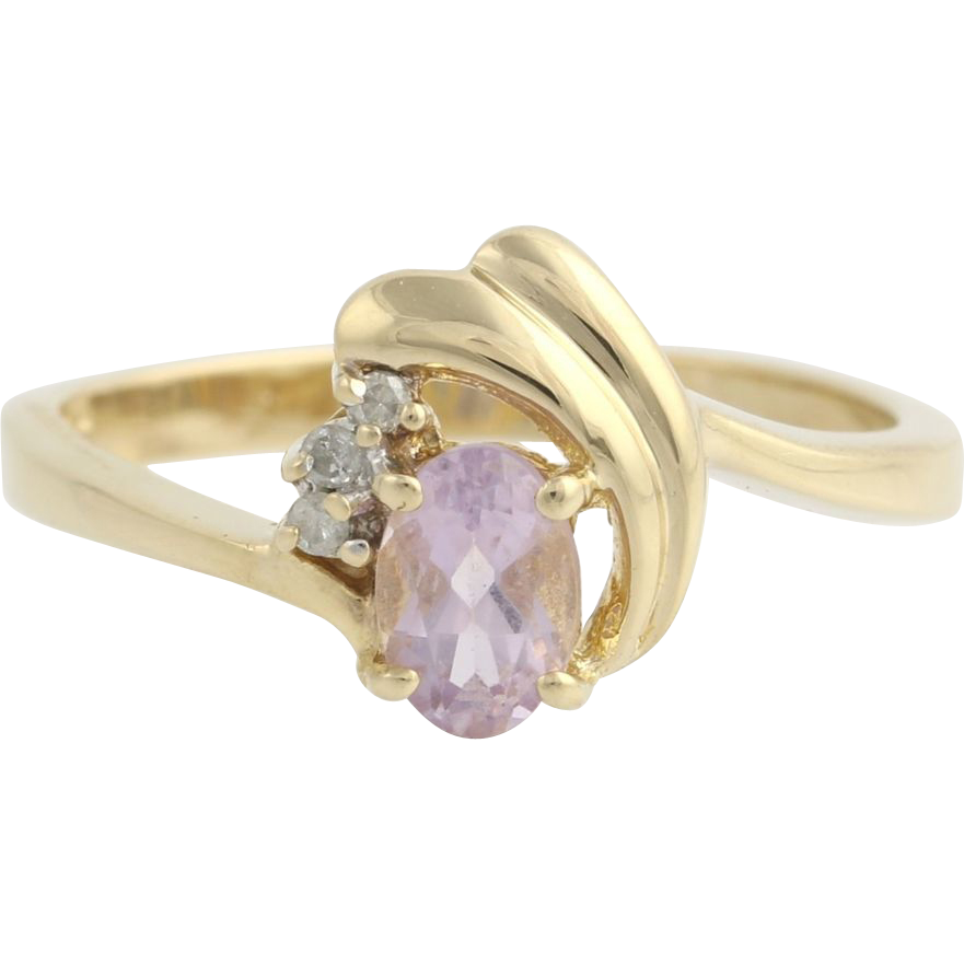 Amethyst & Diamond Cocktail Ring - 14k Yellow Gold Band Women's Fine Estate 6.75