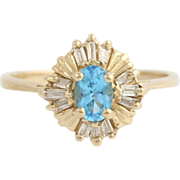 Blue Topaz & Diamond Cocktail Ring - 14k Yellow Gold November Genuine .77ctw
