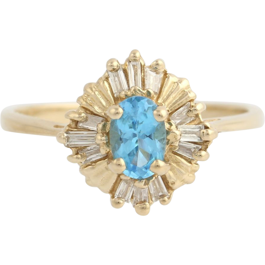 Blue Topaz & Diamond Cocktail Ring - 14k Yellow Gold November Genuine .77ctw