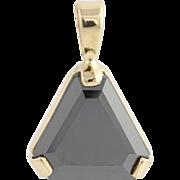 Simulated Black Diamond Pendant-14k Yellow Gold Cut Corner Triangle Cut Fashion