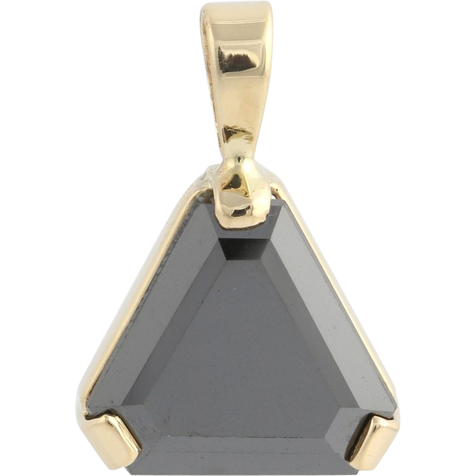 Simulated Black Diamond Pendant-14k Yellow Gold Cut Corner Triangle Cut Fashion