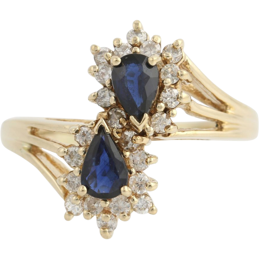Sapphire & Diamond Bypass Cocktail Ring - 10k Yellow Gold Birthstone 1.70ctw