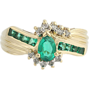 Synthetic Emerald & Diamond Cocktail Ring- 14k Yellow and White Gold Genuine .85ctw