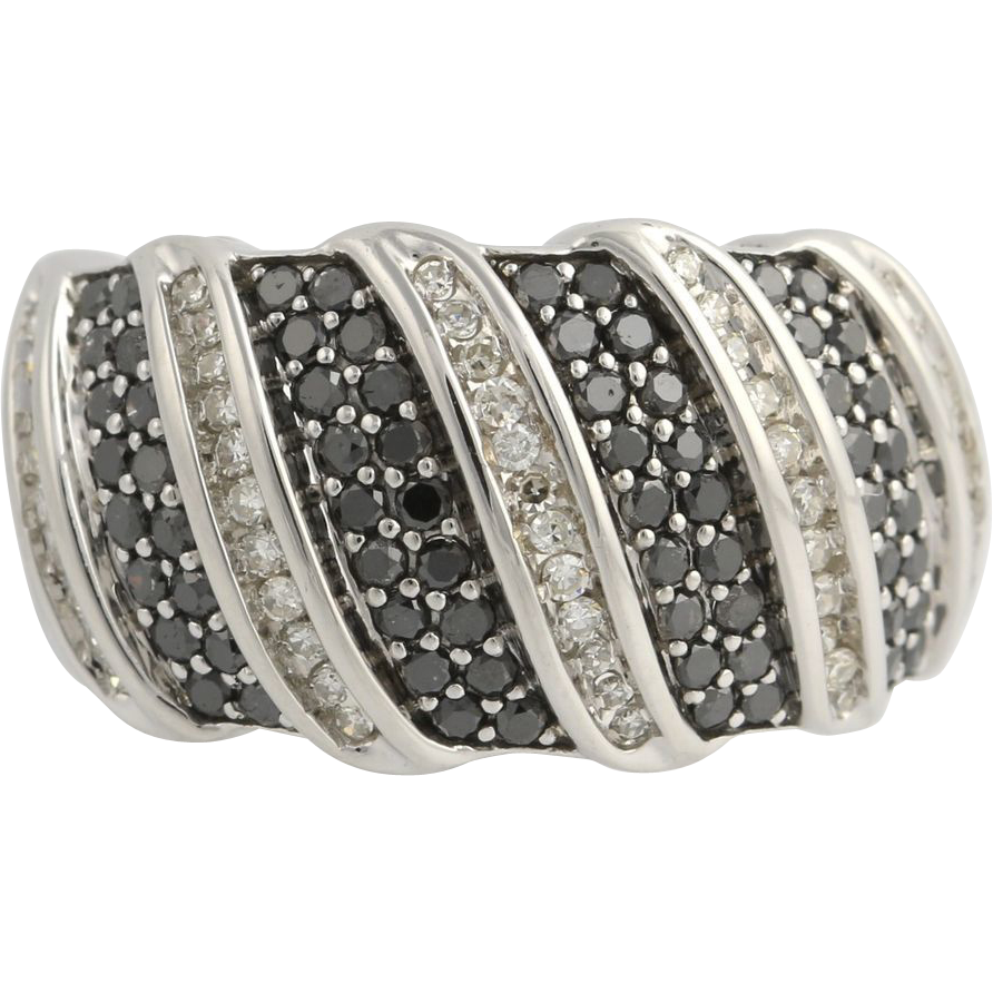 Black & White Diamond Cocktail Band - 10k White Gold Ring Curved Natural 1.05ctw