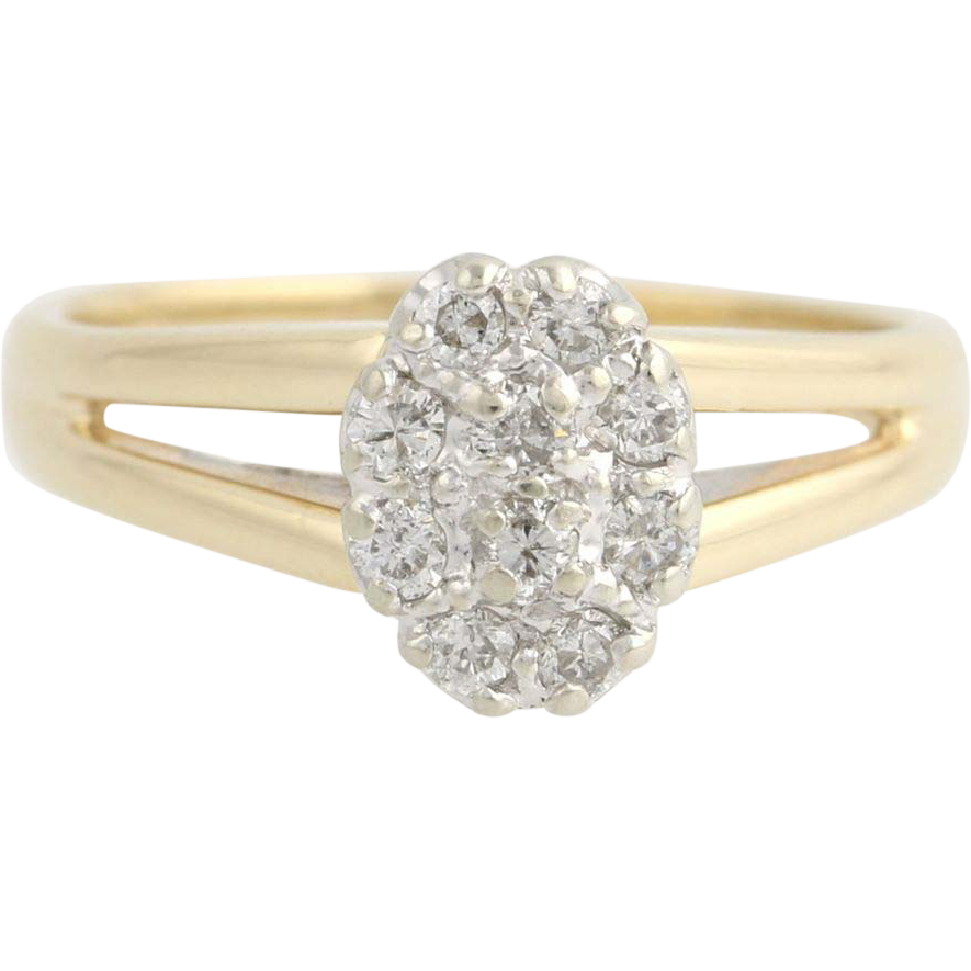 Diamond Cluster Cocktail Ring - 14k Yellow & White Gold Illusion Genuine .25ctw