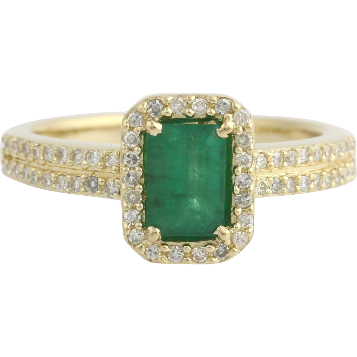 Emerald & Diamond Halo Ring - 14k Yellow Gold Engagement Genuine 1.22ctw