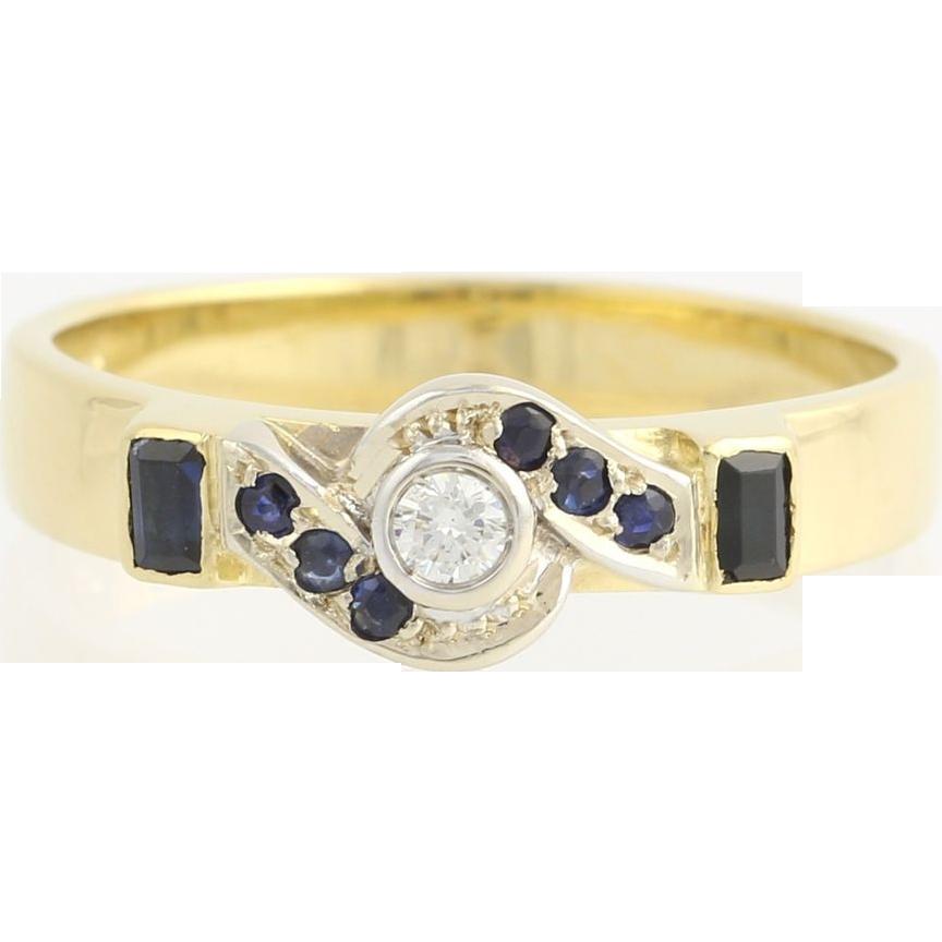 Diamond & Sapphire Cocktail Ring - 18k Yellow Gold Women's Swirl .30 ctw Fine