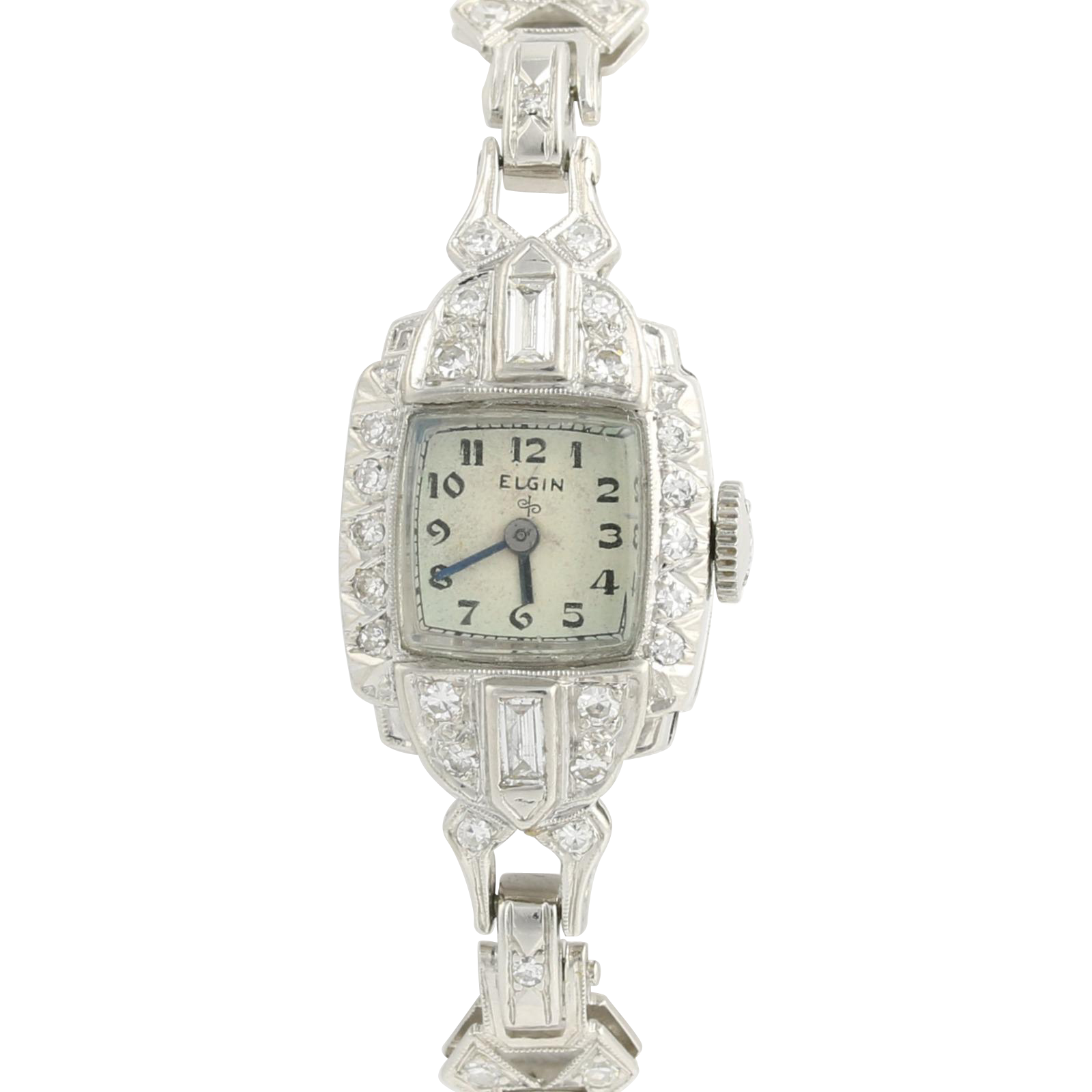 "Vintage Elgin Diamond Women's Watch 6"" - 900 Platinum High Karat Natural 1.38ctw"