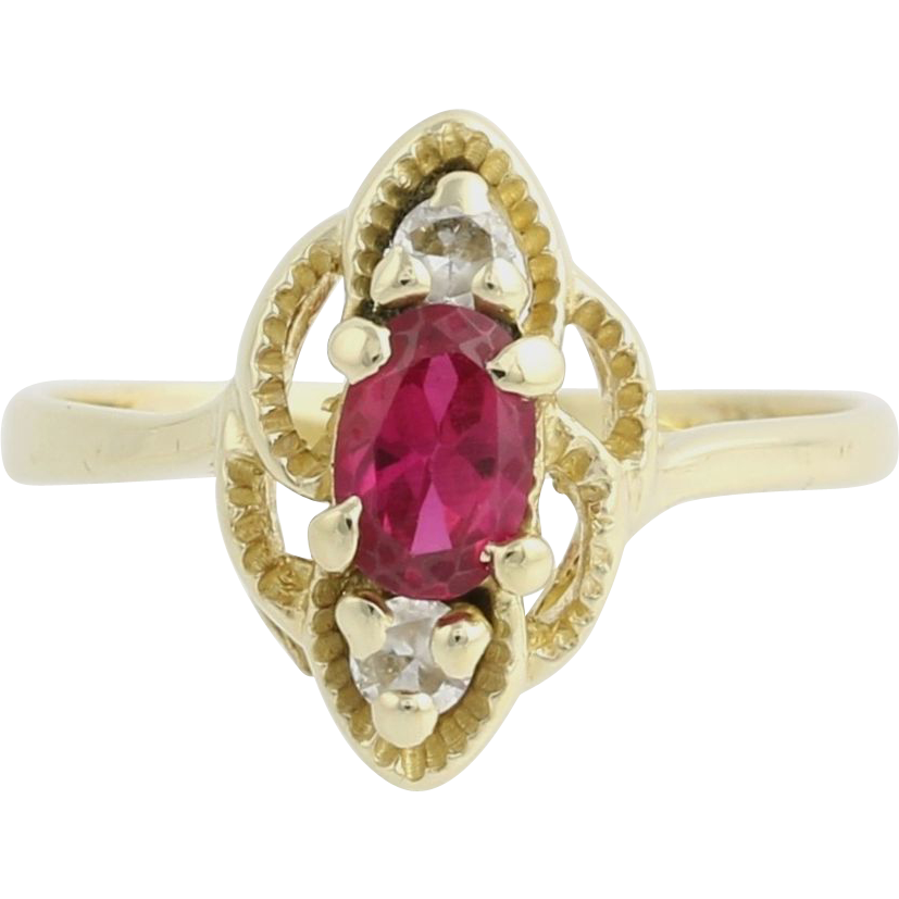 Synthetic Ruby & Synthetic White Sapphire Ring - 14k Yellow Gold Women's Fine