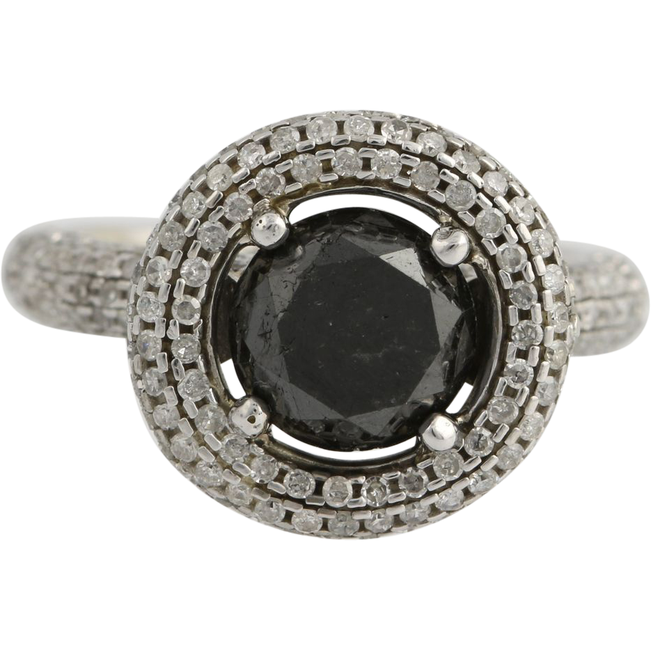 Black Diamond Halo Engagement Cocktail Ring - 10k White Gold Round 4.00ctw