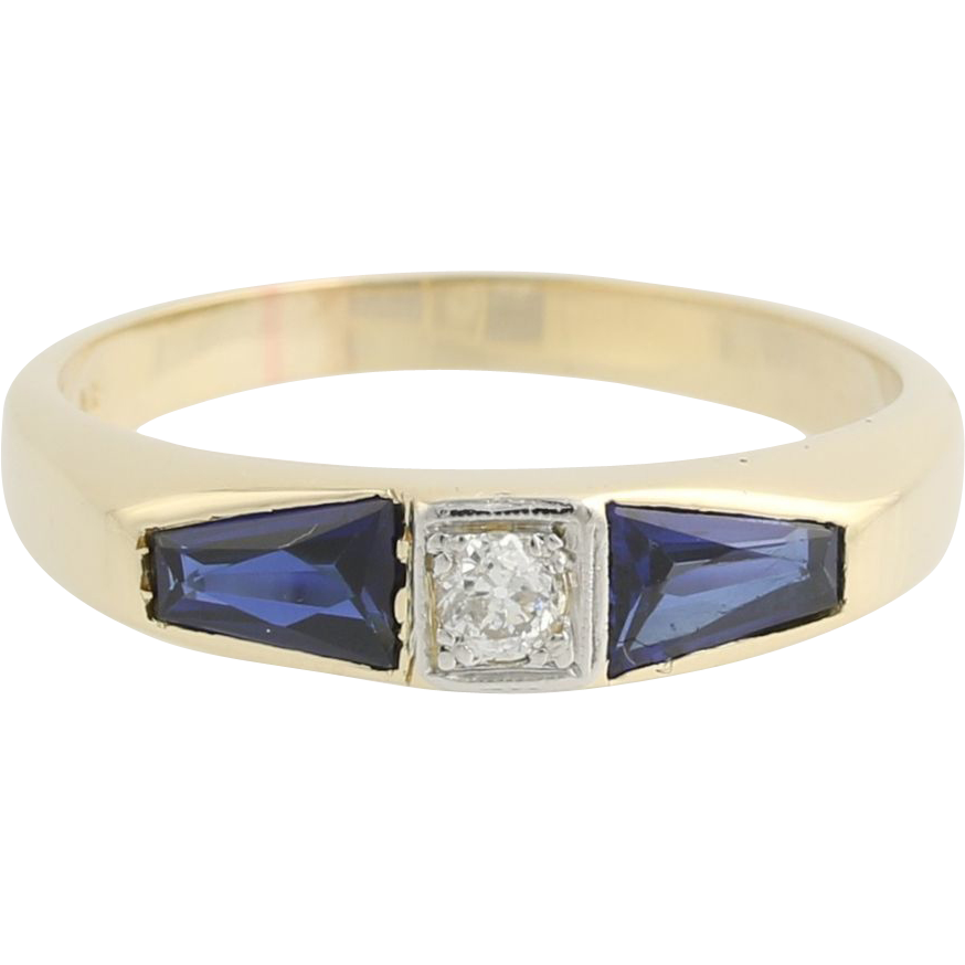 Diamond & Synthetic Sapphire Ring - 14k Yellow & White Gold 10 3/4 Fine 1.62ctw