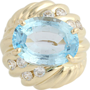 Blue Topaz Cocktail Ring - 14k Yellow Gold Oval Statement Women's 8.54ctw