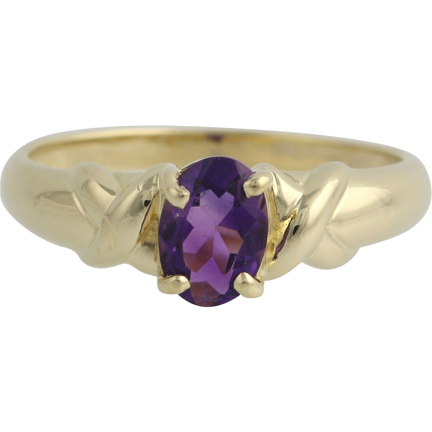 Amethyst Solitaire Ring - 10k Yellow Gold February Women's 6 3/4 Genuine .85ctw