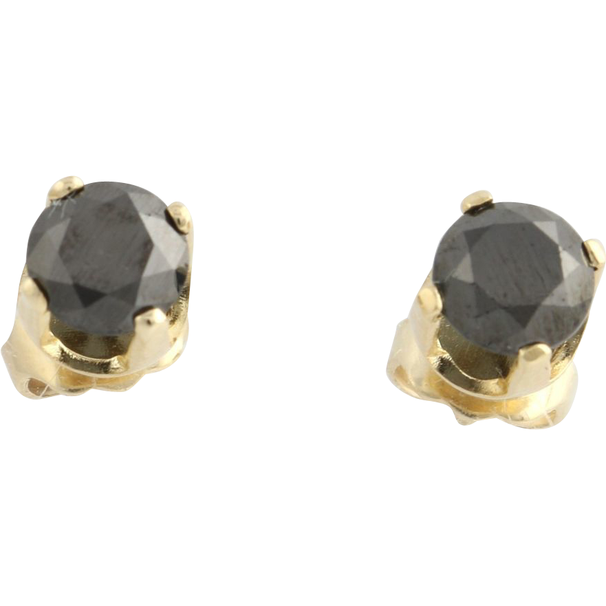Black Diamond Stud Earrings- 14k Yellow Gold Pierced Fine Estate Genuine 1.63ctw