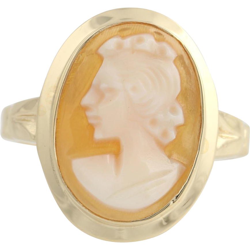 Vintage Carved Shell Cameo Ring - 10k Yellow Gold Women's Size 5 1/4 Polished