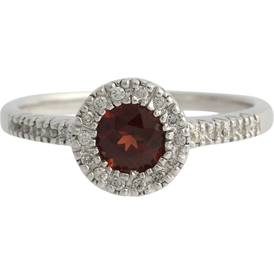Garnet & Diamond Halo Ring Solitaire Engagement - 14k White Gold January 1.15ctw