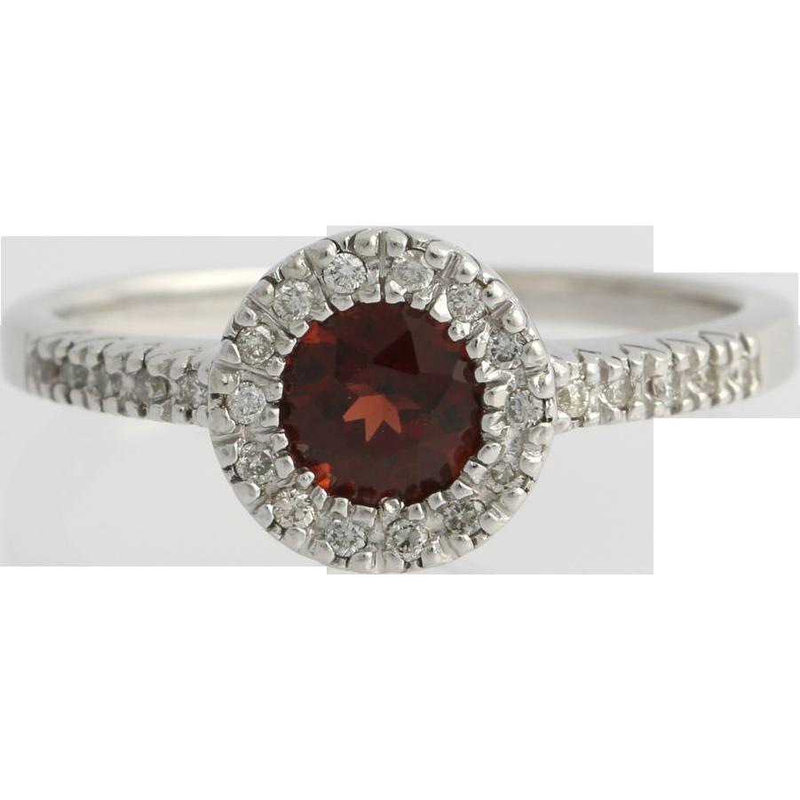 Garnet & Diamond Halo Ring Solitaire Engagement - 14k White Gold January 1.15ctw