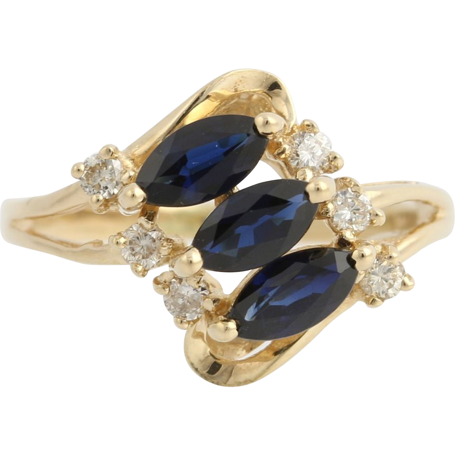 Sapphire & Diamond Cocktail Ring - 14k Yellow Gold September 5 Genuine 1.20ctw