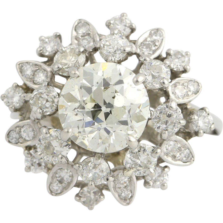 Retro Diamond Cocktail Ring - Platinum Vintage Floral Tiered Natural 2.94ctw