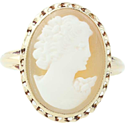 Vintage Carved Shell Cameo Ring - 10k Yellow Gold Size 7 Women's Gift
