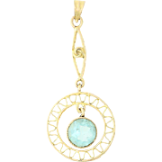 Art Deco Glass Drop Pendant - 10k Yellow Gold Aqua Stone March