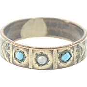 Victorian Vintage Baby Ring - Blue & Clear Stones Filigree Detail
