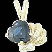 Sapphire & Diamond Pendant - 14k Yellow Gold 0.93ctw Heart Dimensional Women's