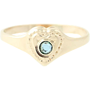 Heart Glass Stone Baby Ring - 10k Yellow Gold Round 2mm Solitaire
