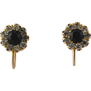 Vintage Flower Halo Earrings 10k Yellow Gold Black White Rhinestones Screw Back