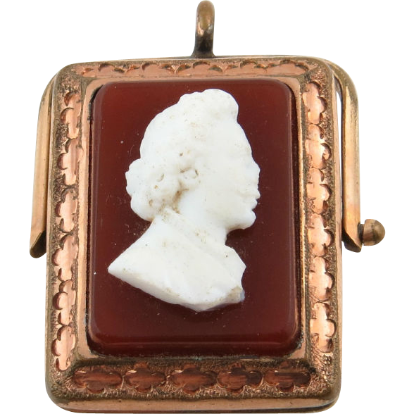 Victorian Cameo Locket - Gold Filled Pendant Rotates & Opens Double Side Antique