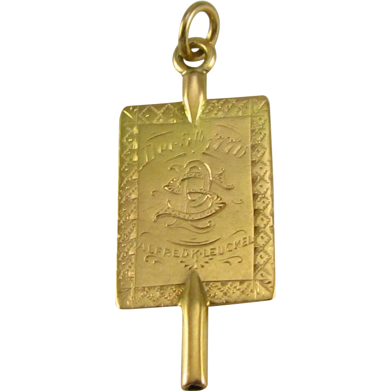 Antique PHI BETA KAPPA Fob - fraternity 1887 Lehigh 10k Yellow Gold Key Fob Greek