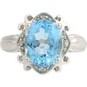 Blue Topaz & Diamond Cocktail Ring - 10k White Gold November Genuine 3.52ctw